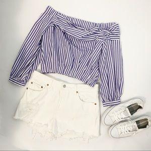 Zara Basic Striped Crop Off Shoulder Blouse - sm